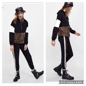 Zara animal print joggers and sweatshirts set